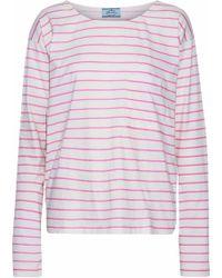Prada - Striped Cotton-jersey Top - Lyst