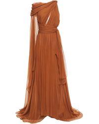 Dundas Draped Cutout Silk-voile Gown - Brown
