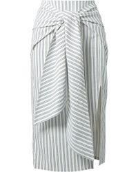 Jason Wu Tie-front Striped Poplin Midi Skirt White