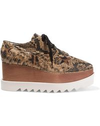 Stella McCartney - Elyse Snake-effect Faux Leather Platform Brogues Animal Print - Lyst