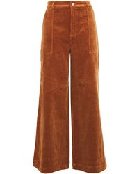 Ganni Ridgewood Cotton-blend Corduroy Wide-leg Trousers Brown