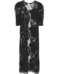 LoveShackFancy Janice Gathered Crocheted Cotton-lace Kimono - Grey
