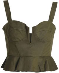 Nicholas - Cropped Stretch-cotton Twill Bustier Top Army Green - Lyst