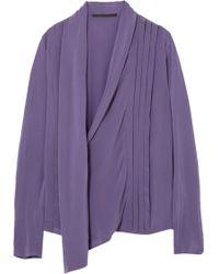 Haider Ackermann Draped Silk-crepe Top Purple