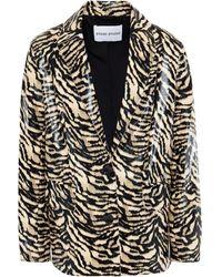 Stand Studio Tiger-print Faux Snake-effect Leather Blazer Animal Print - Black