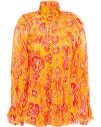 Zimmermann Bedruckte Bluse Aus Seiden-georgette Mit Rüschen Größe 00 - Orange