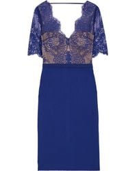 Catherine Deane Naomi Grosgrain-trimmed Lace And Ponte Dress Royal Blue