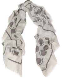 Anya Hindmarch | Frayed Printed Twill Scarf Light Gray | Lyst