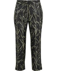 Proenza Schouler - Cropped Printed Silk-twill Straight-leg Trousers - Lyst