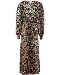 Ganni - Leopard-print Silk-blend Satin Midi Wrap Dress Animal Print - Lyst