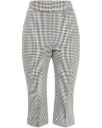 Veronica Beard Dhara Cropped Gingham Cotton-blend Seersucker Slim-leg Trousers - Multicolour