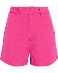 Solid & Striped Belted Linen-blend Shorts - Pink