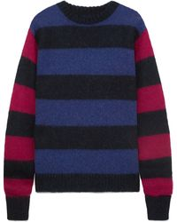 ROKH Two-tone Striped Knitted Jumper - Blue