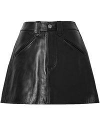 RE/DONE 40s Western Leather Mini Skirt - Black