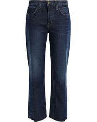 Current/Elliott - Two-tone Mid-rise Straight-leg Jeans Mid Denim - Lyst