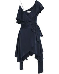 Zimmermann - Asymmetric Ruffled Washed-silk Wrap Mini Dress - Lyst