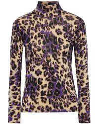 Diane von Furstenberg Brandy Printed Merino Wool Turtleneck Sweater Animal Print - Multicolour