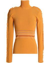ROKSANDA - Ruffle-trimmed Striped Ribbed-knit Turtleneck Top - Lyst
