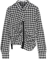 McQ Asymmetric Ruched Gingham Flannel Shirt Gray