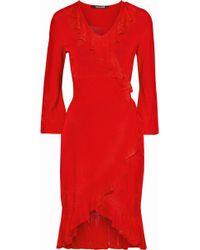 Roberto Cavalli - Wrap-effect Ruffle-trimmed Pointelle-knit Dress - Lyst