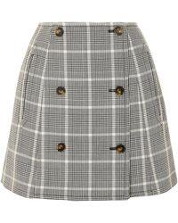 Stella McCartney Prince Of Wales Checked Wool Mini Skirt - Black