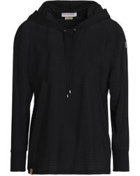 Monreal London - Woman Perforated Stretch Hooded Sweatshirt Black Size S - Lyst