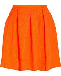 Opening Ceremony - Ethan Neon Embossed Piqué Mini Skirt Bright Orange - Lyst