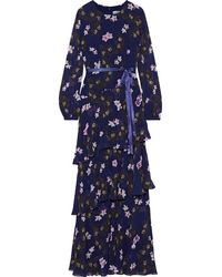 Mikael Aghal Belted Tiered Floral-print Chiffon Gown Navy - Blue