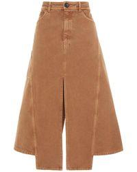 Lanvin Split-front Cotton-canvas Midi Skirt - Natural