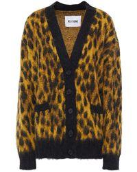 RE/DONE 90s Brushed Jacquard-knit Cardigan Animal Print - Multicolour
