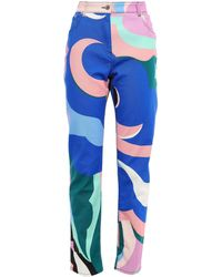 Emilio Pucci Printed High-rise Straight-leg Jeans Royal Blue