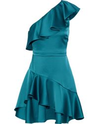 Halston - One Shoulder Flounce Dress - Lyst