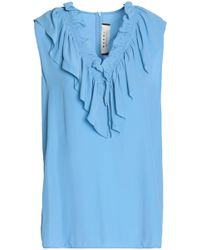 Marni - Ruffle-trimmed Crepe Blouse - Lyst