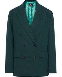 PS by Paul Smith Double-breasted Grain De Poudre Wool Blazer - Green