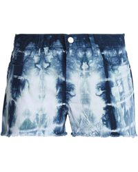J Brand Frayed Tie-dye Denim Shorts Dark Denim - Blue