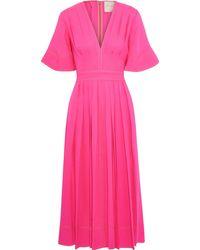 ROKSANDA Pleated Silk-cady Midi Dress Bright Pink