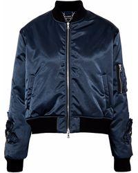 Markus Lupfer Crystal-embellished Gabardine Bomber Jacket Navy - Blue