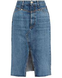 Rag & Bone Faded Denim Skirt Light Denim - Blue
