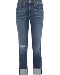 Rag & Bone Dre Distressed Boyfriend Jeans Mid Denim - Blue