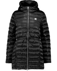 adidas Originals Quilted Shell Hooded Coat - Black