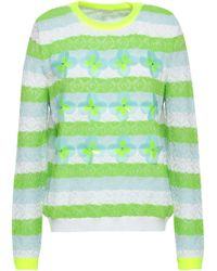 Delpozo Woman Embellished Striped Pointelle-knit Cotton-blend Jumper Bright Yellow - Green
