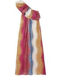 Stine Goya Janika Gestreifte Robe Aus Seide Mit Pailletten Und Asymmetrischer Schulterpartie - Mehrfarbig