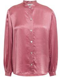 Vince Gathered Silk-satin Shirt Antique Rose - Pink