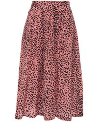 Être Cécile Être Cécile Amelie Pleated Leopard-print Silk Crepe De Chine Midi Skirt - Pink