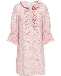 Vivetta Ruffled Floral-print Crepe Mini Dress Baby Pink