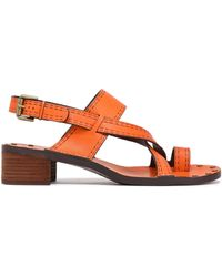 See By Chloé See By Chloé Embossed Leather Sandals Pastel Orange - Multicolour