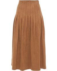 Vilshenko Pleated Faux Suede Midi Skirt Light Brown