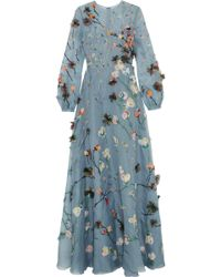 Valentino | Floral Applique Evening Dress | Lyst