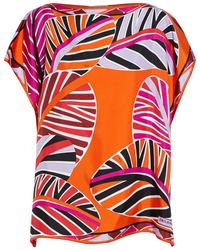 Emilio Pucci Printed Silk-twill Top Bright Orange