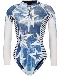 Perfect Moment Printed Neoprene Swimsuit White